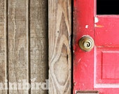 Old Red Door in a Barn Photograph Instant Download