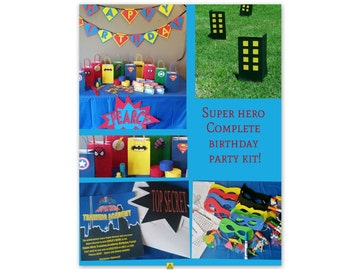 Custom Super Hero COMPLETE PARTY KIT
