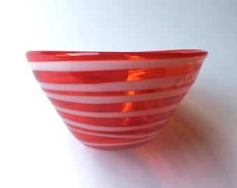 SALE! Vintage Red Glass Decorative Serving Bowl / Candy Bowl with White Swirl