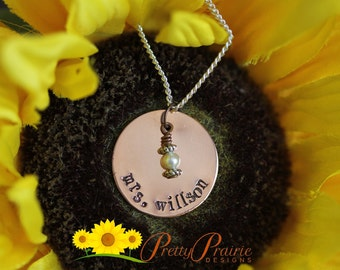 Personalized Handstamped Copper Teacher's Necklace - Custom Pearl Charm with Teacher's Name - Year End Teacher's Gift