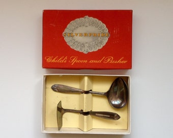 SilverPride Vintage Child's Spoon and Pusher