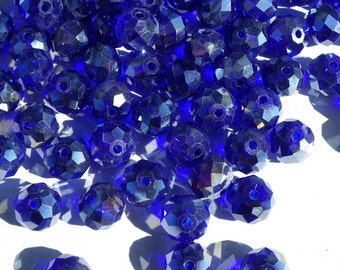50 beads 10 mm glass way blue gloss Crystal hard