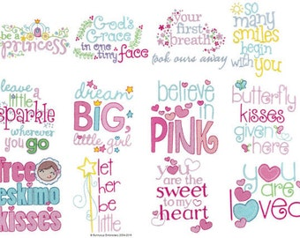 Baby Girl Sentiments Too Filled Stitch Machine Embroidery Designs 4x4 5x7