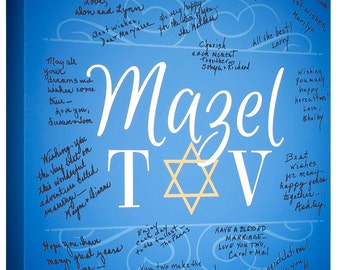 Bar Mitzpah~Bat Mitzvah~ Mazel Tov~Custom Sign-In Canvas~Personalized Guest Book~