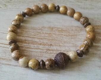 Men's Picture jasper bracelet, mens bracelet, beaded bracelet, stretch bracelet, jewelry, gifts for him, stackable bracelet, gifts