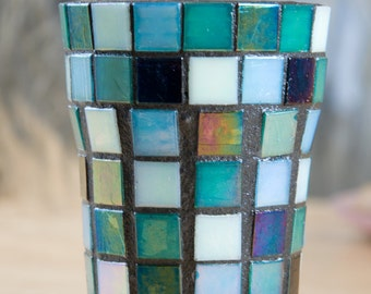 Handmade mosaic cup (toothbrush holder) in coastal blue