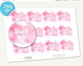 """75% OFF SALE Printable Favor Tags """"Thank you"""" Watercolor, Printable Thank You, Cupcake Toppers, Printable Supplie, Sticker, INSTANT download"""