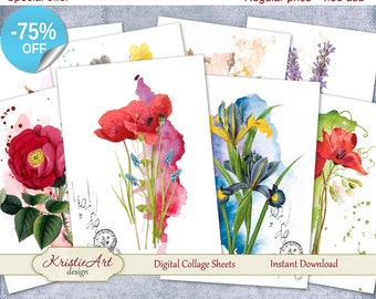 75% OFF SALE Digital Collage Sheets Watercolor Flowers - Digital cards C072 printable download digital digital image atc card aceo flowers