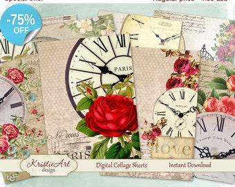 75% OFF SALE Aceo Cards Floral Clocks - Digital Collage Sheets Digital Cards C068 Greeting ATC Printable download digital image card making