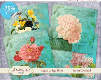 75% OFF SALE Digital collage sheet - Flowers Garden Printable Download Cards C079 Tags Greeting Image Digital Atc Card Flowers Collage ACEO