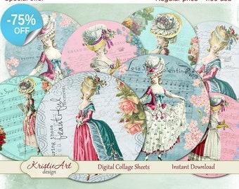75% OFF SALE Shabby Ladies - Digital card C045 Digital collage sheet printable download digital vintage ladies digital atc card antoinette
