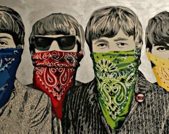 BANKSY Canvas Beatles Bandanas Banksy Graffiti Wall Art  Print Gallery Wrapped
