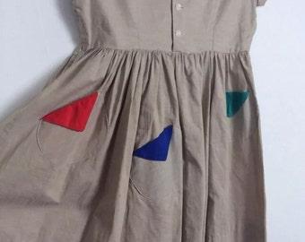 Vtg Usa 1950s 50s Childrens Rockabilly Rock And Roll Dress Kids
