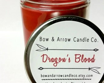 Natural Soy Candle Dragon's Blood Scented | 7 oz Jar Candle | Dragon's Blood Scented | Herbal Candle | Patchuli Candle | Gift Idea
