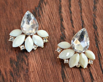 Rhinestone and Off White Stone Statement Stud Earrings