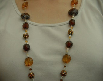 40% off- Brown Necklace, Hand Wired Necklace, Universal Necklace, Trendy Necklace