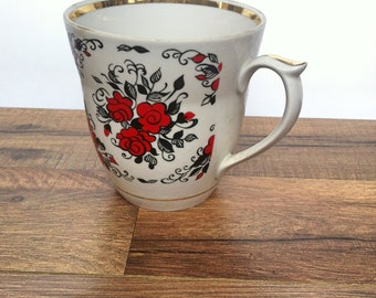 Vintage USSR Teacup with red flowers