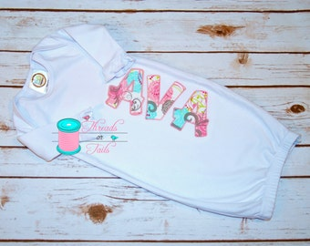Applique Baby Girl Gown with Name