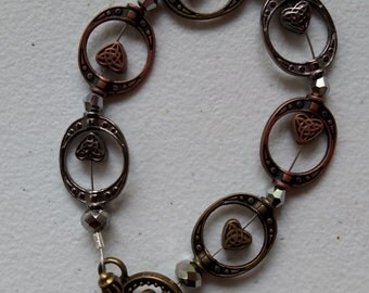mixed metal heart bracelet