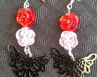 Butterfly and roses earrings