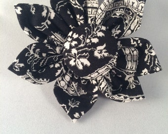 Handmade cute collar accessory michael miller eiffel tower black and white