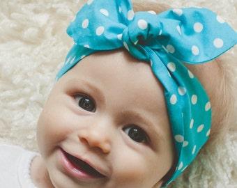 """Baby Bow Headband, Baby Girl Headband, Blue Polka-Dot, Baby Knot Headband, """"Anniston"""""""