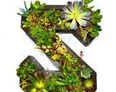 Jardinera de madera con monograma de la flor