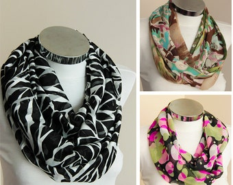 Black  and white infinity scarf with zebra stripes chiffon circle Scarf tube scarf with zebra  scarf with black and white spring fashion