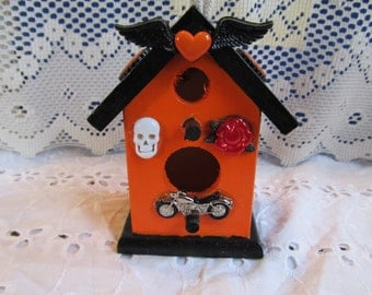 Motorcyle Wood Unique Birdhouse, Decorative Birdhouse, Gifts for her, Gifts for Women, Shelf Decor, Motorcycle Birdhouse, Unique Gifts