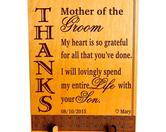 Groom's Mom-Mother of the Groom In Law Gift, Wedding Custom Appreciation -Thank you Plaque Gifts for Groom's Parents . PWP005