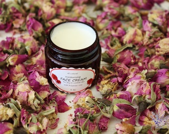 Face cream, moisturizing, for dry or normal skin, with rose