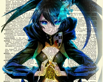 Black Rock Shooter Upcycled Dictionary Art Print Poster