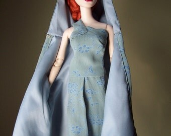 """OOAK Cape and Matching Gown for Evangeline Ghastly & 16"""" Tonner Dolls Like Tyler"""