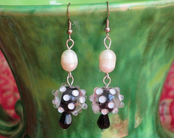 Quirky, Playful, Black and White Lampwork Bead Earrings with Pearls