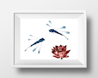 Dragonfly art, lotus flower painting, insect art, watercolor wall art