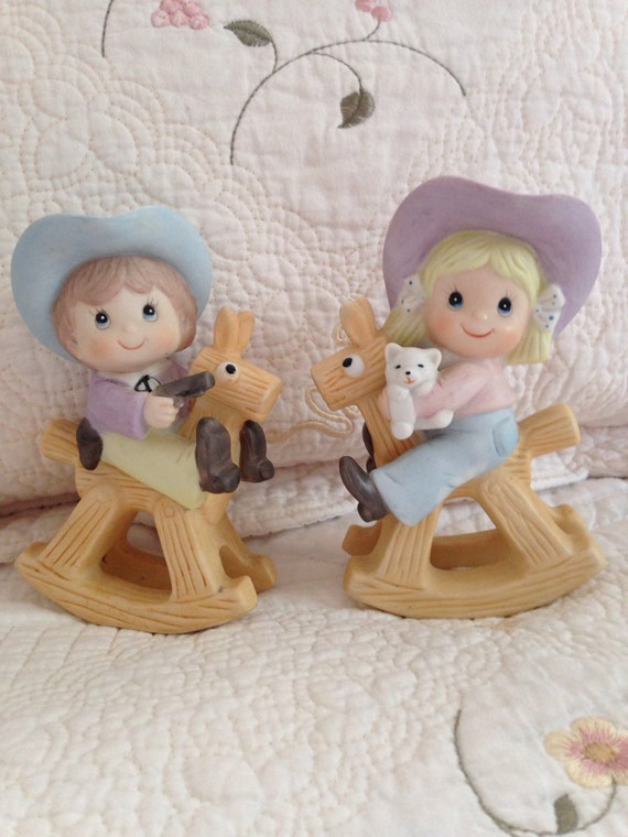 Homco Children Figurines Cowgirl On Rocking Horse Cowboy On