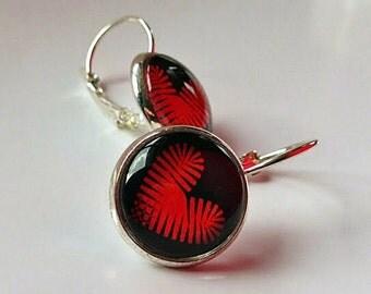 Red Heart on Black Lever Back Earrings