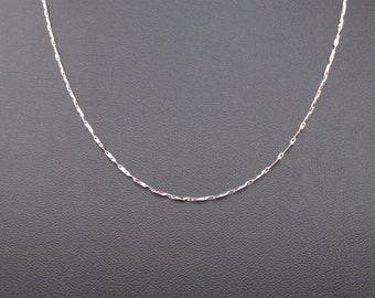 18K White Gold Over Sterling Silver Diamond Cut Chain