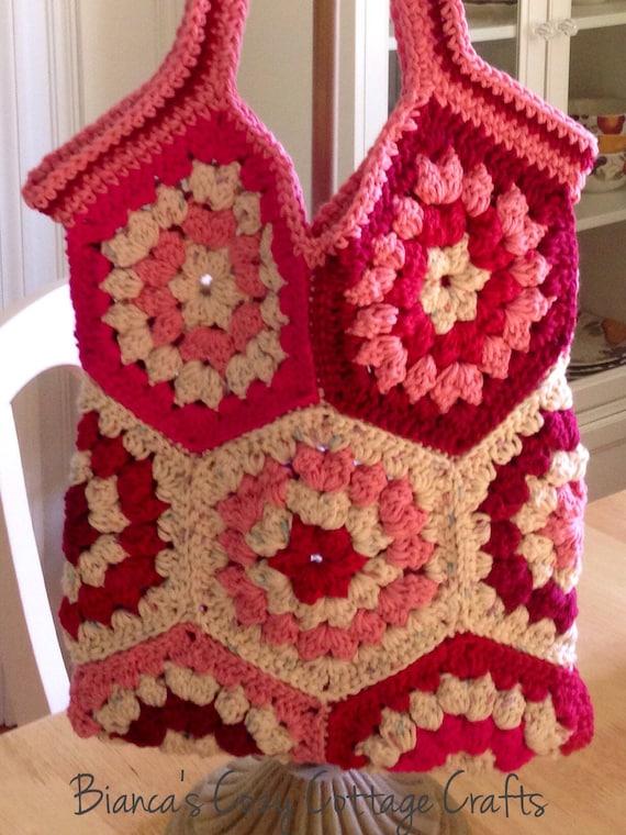 Crochet Hexagon Bag : bag, market bag, hexagon crochet bag, crochet tote bag, cotton bag ...