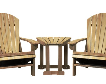 2 Natural Wood Adirondack Chairs With Table