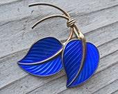 Vintage Antique Cobalt Blue Enamel Sterling Silver Leaf Brooch Made in Norway