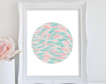 Abstract Art Print, Circle Art, Modern Wall Art, Instant Download, Pastel Print, Nursery Art