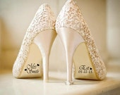 Name and Date Wedding Shoe Sticker Decals , Bride and Groom Wedding Decorations,Bridal Shoe Decal, Photography Prop