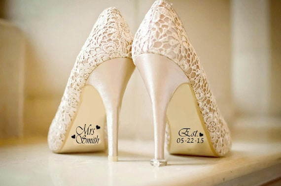 Custom Wedding Shoe Decal with Date and Hearts, Wedding Decorations, Shoe Decal