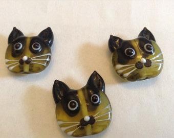 Lampwork glass kitty cats