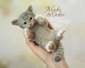 Custom needle felted cat sculpture, felt pet, custom cat, cat portrait, gift for pet owner, needlecraft, felted animal
