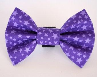 Purple Star Fabric Dog Bow