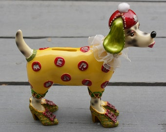 Piggy bank Dalmatian Baroque style with letters