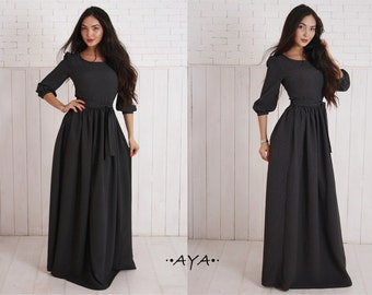Black, prom, pageant, tea party, engagement, maxi, summer, cuffs on sleeve, dirndl, polka dot, white & black, peasant sleeve, crepe, dress