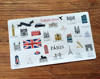64 - London & Paris Planner Stickers | Perfect for Your Erin Condren Life Planner